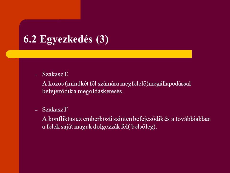 6.2 Egyezkedés (3) Szakasz E