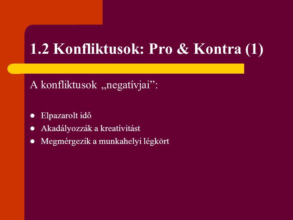 1.2 Konfliktusok: Pro & Kontra (1)