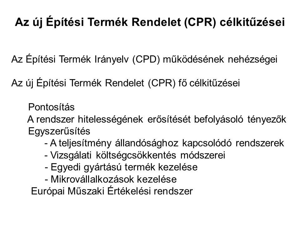 Az új Építési Termék Rendelet (CPR) célkitűzései