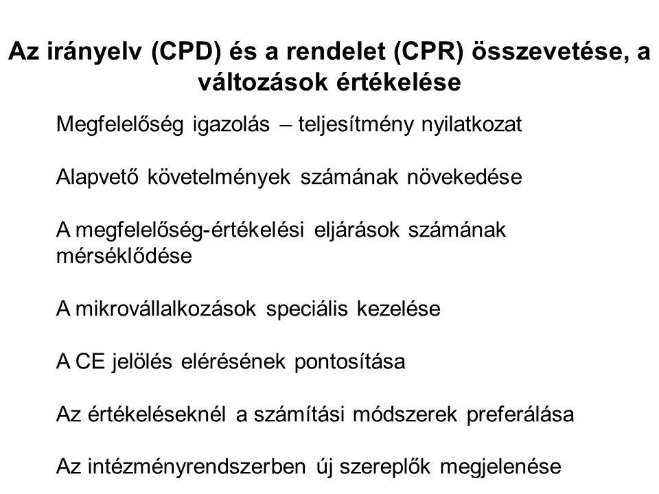 Az irányelv (CPD) és a rendelet (CPR) összevetése, a változások értékelése