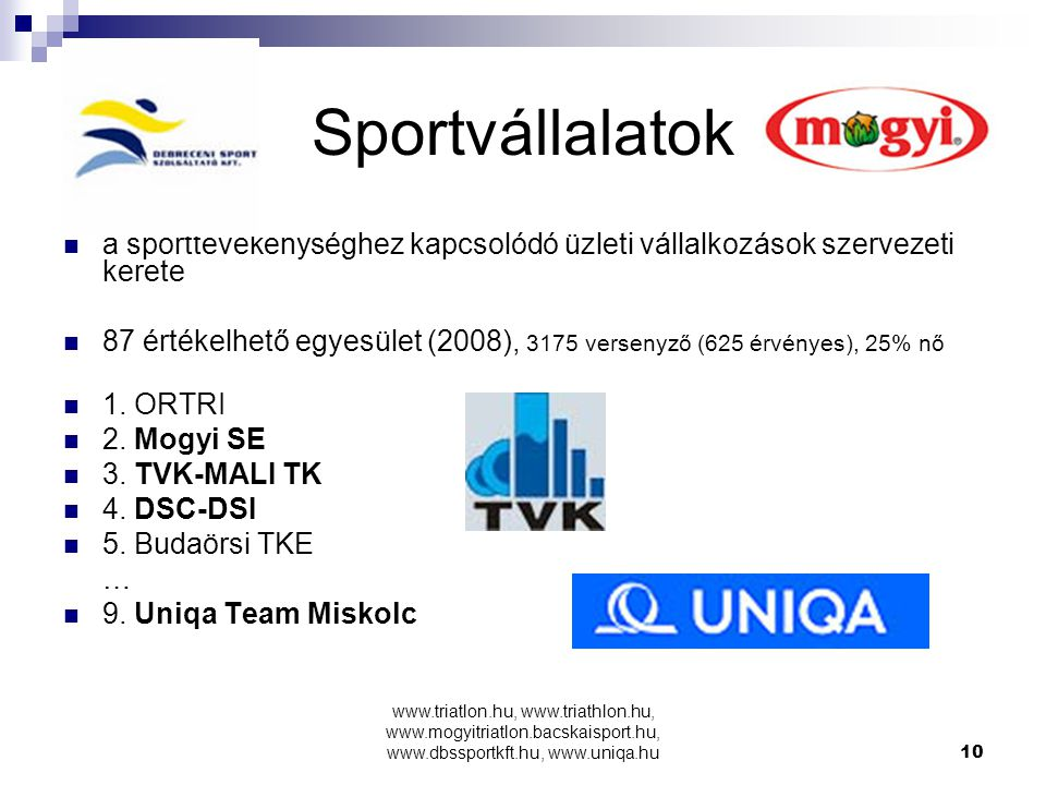 Sportvállalatok a sporttevékenységhez kapcsolódó üzleti vállalkozások szervezeti kerete.