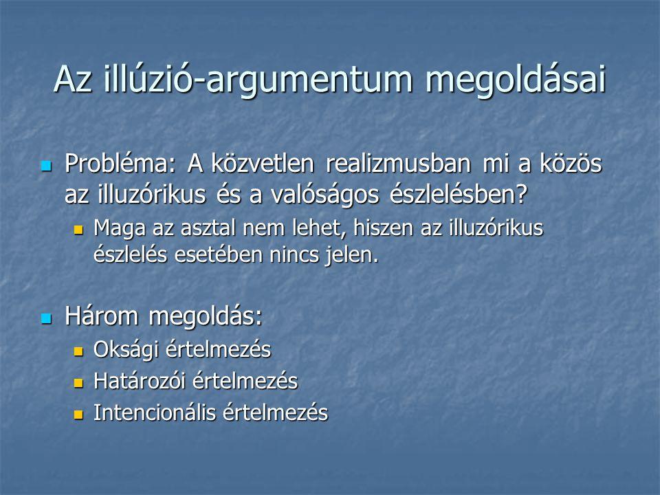 Az illúzió-argumentum megoldásai