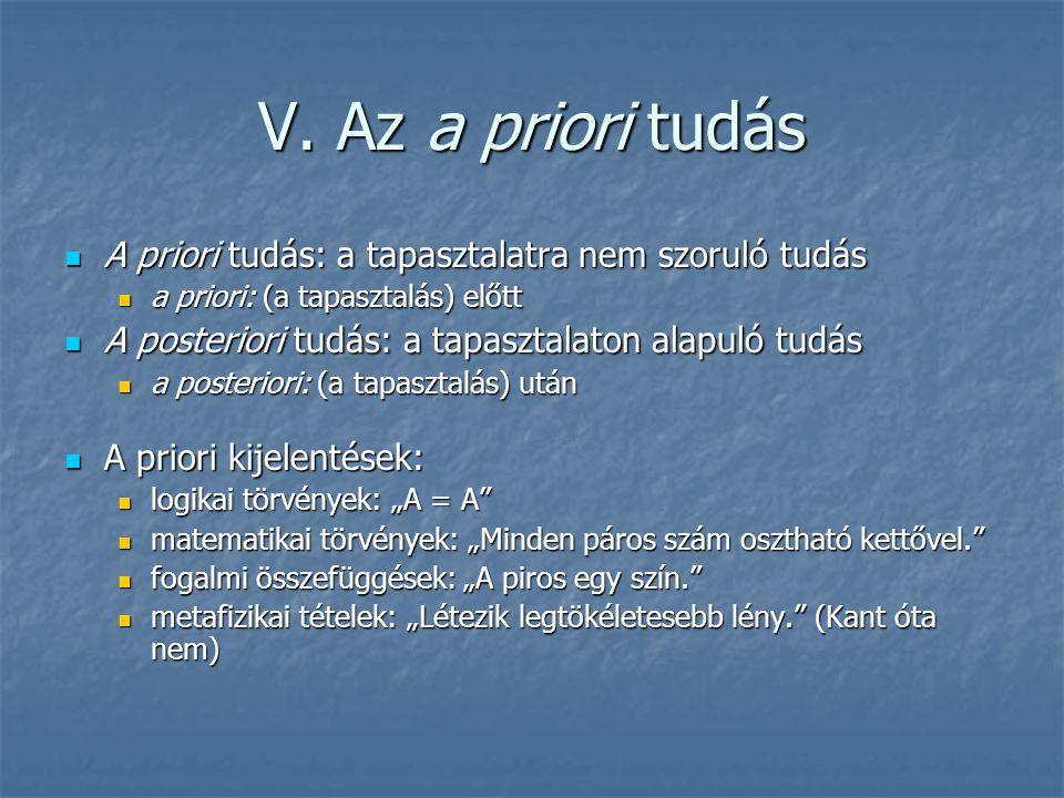 V. Az a priori tudás A priori tudás: a tapasztalatra nem szoruló tudás
