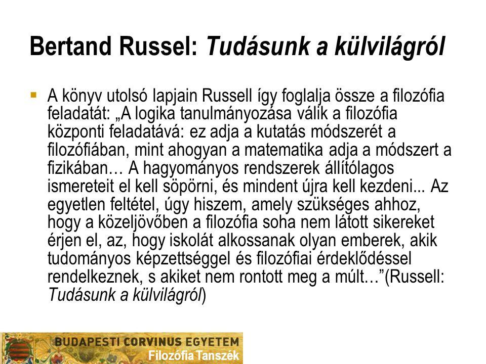Bertand Russel: Tudásunk a külvilágról