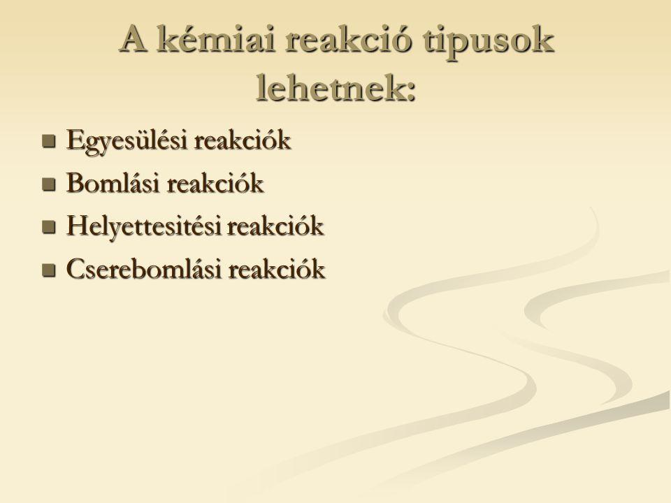 A kémiai reakció tipusok lehetnek: