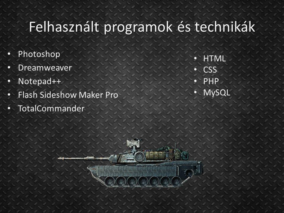 Felhasznált programok és technikák