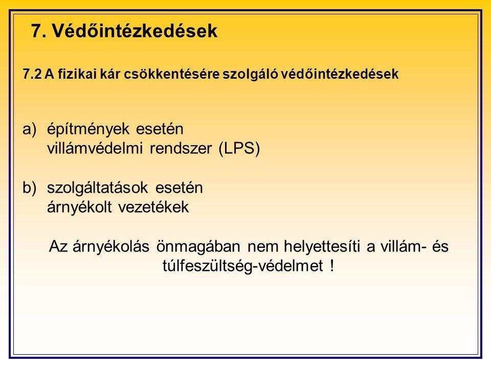 7. Védőintézkedések a) építmények esetén villámvédelmi rendszer (LPS)