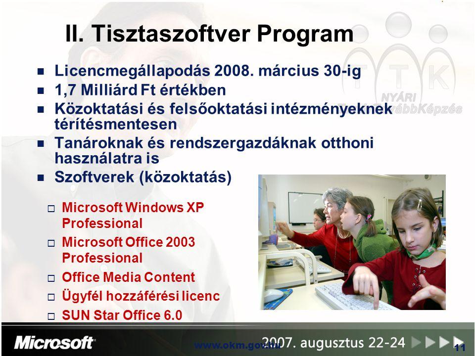 II. Tisztaszoftver Program