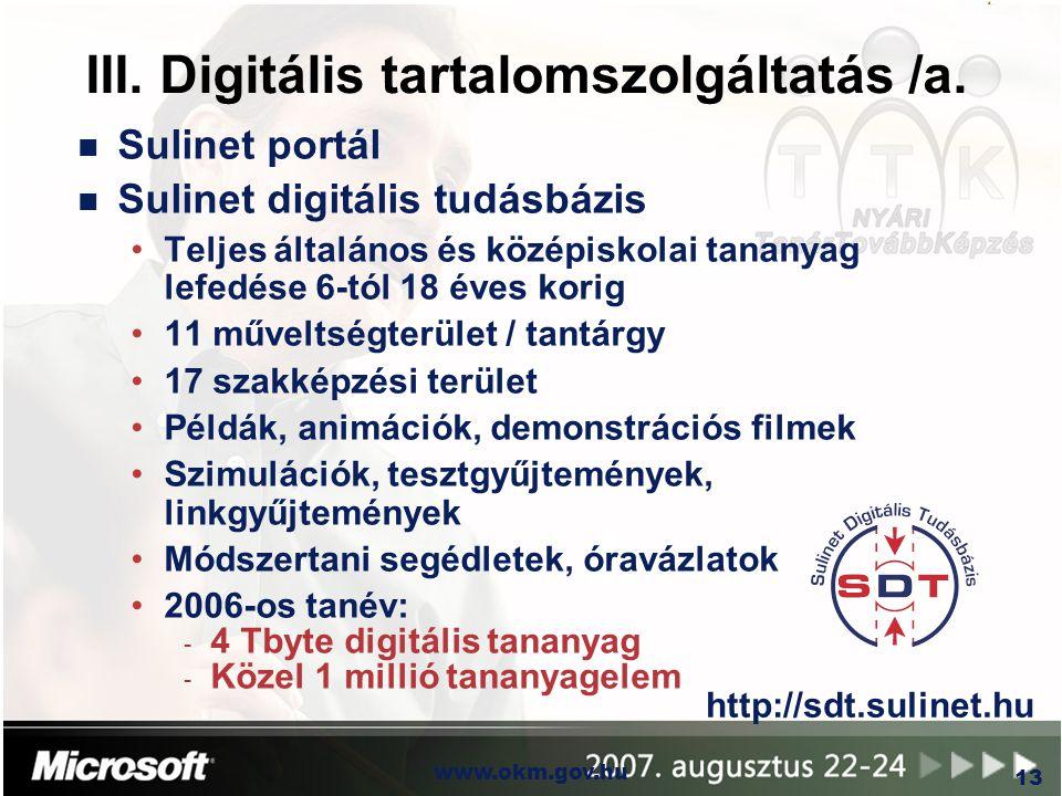 III. Digitális tartalomszolgáltatás /a.