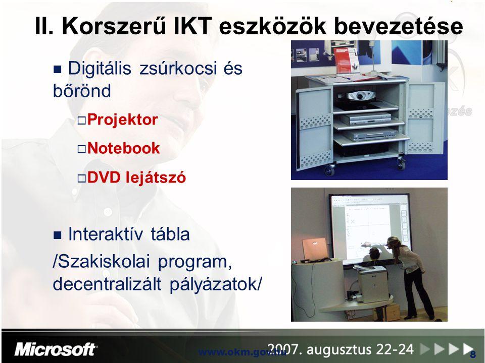 II. Korszerű IKT eszközök bevezetése