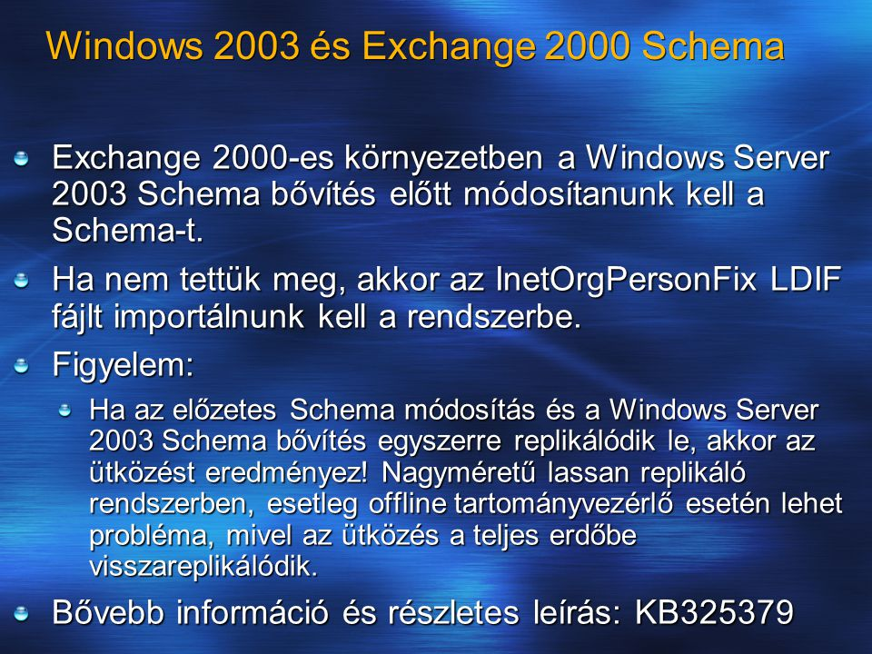 Windows 2003 és Exchange 2000 Schema