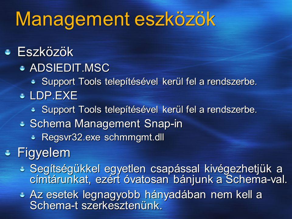 Management eszközök Eszközök Figyelem ADSIEDIT.MSC LDP.EXE