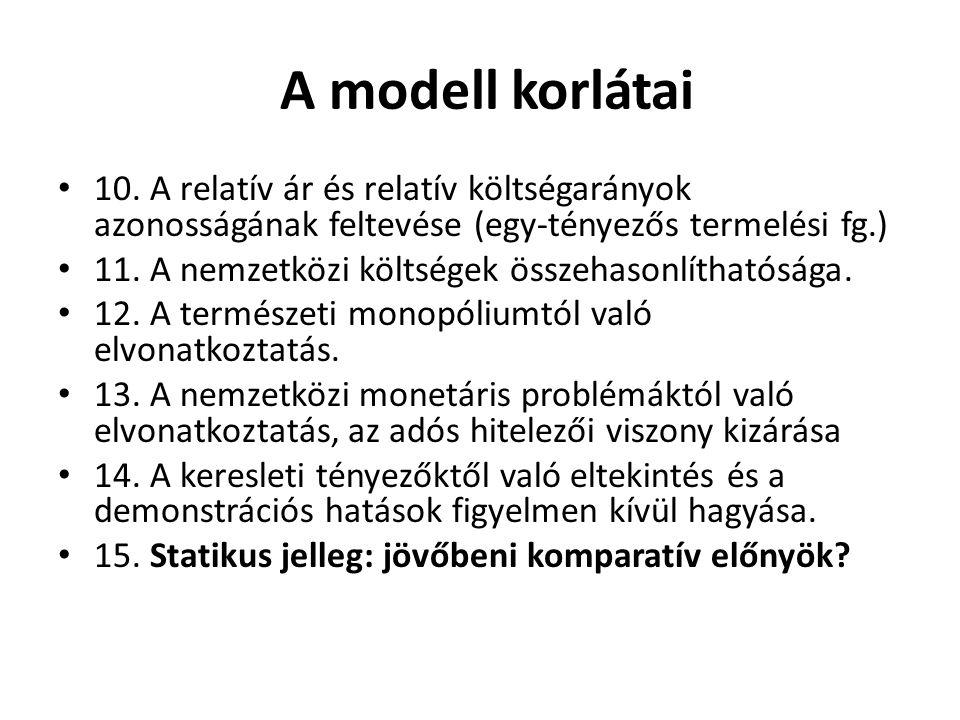 A modell korlátai 10. A relatív ár és relatív költségarányok azonosságának feltevése (egy-tényezős termelési fg.)