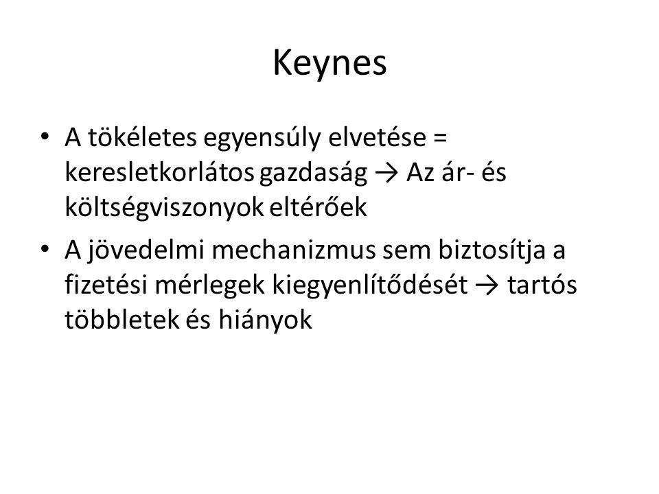Keynes A tökéletes egyensúly elvetése = keresletkorlátos gazdaság → Az ár- és költségviszonyok eltérőek.