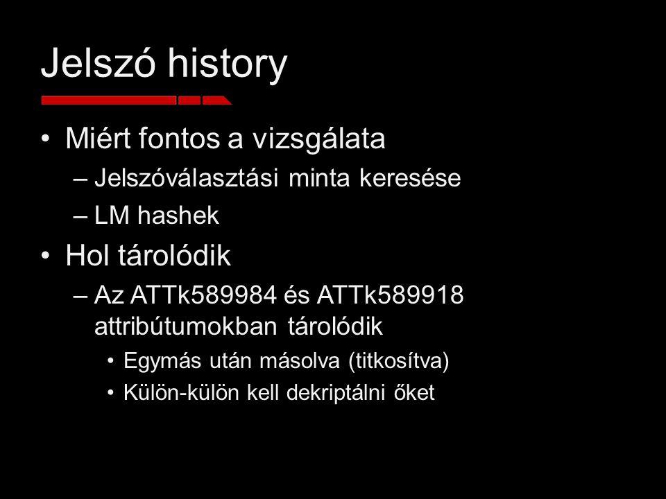 Jelszó history Miért fontos a vizsgálata Hol tárolódik