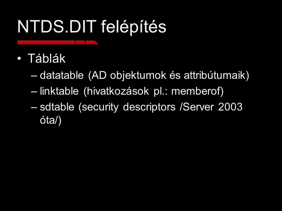NTDS.DIT felépítés Táblák datatable (AD objektumok és attribútumaik)