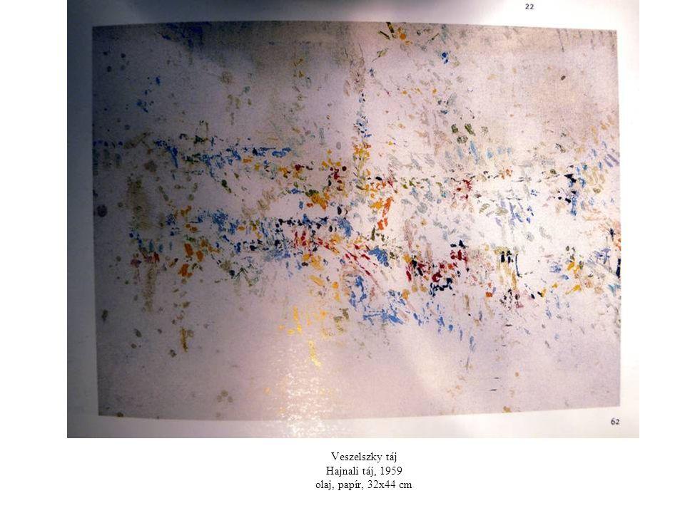 Veszelszky táj Hajnali táj, 1959 olaj, papír, 32x44 cm