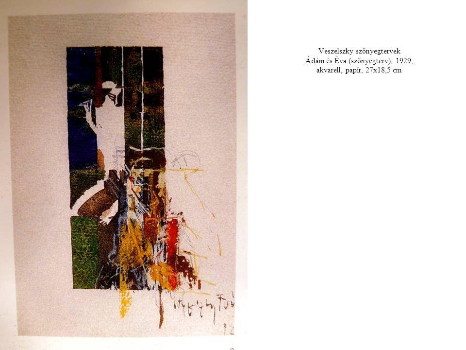 Veszelszky szőnyegtervek Ádám és Éva (szőnyegterv), 1929, akvarell, papír, 27x18,5 cm