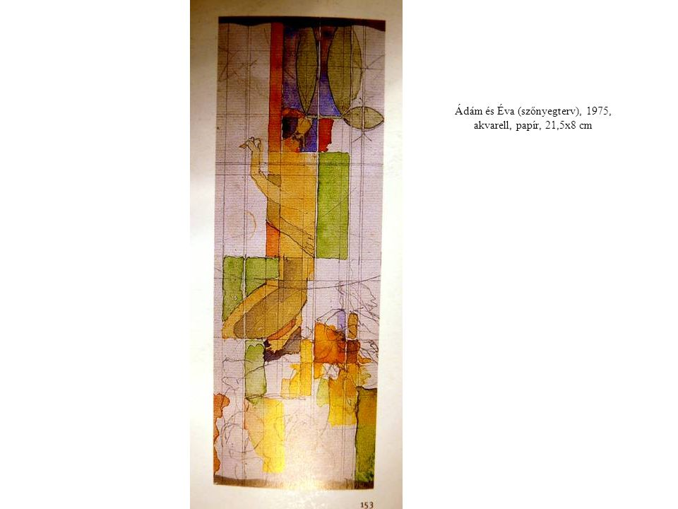 Ádám és Éva (szőnyegterv), 1975, akvarell, papír, 21,5x8 cm