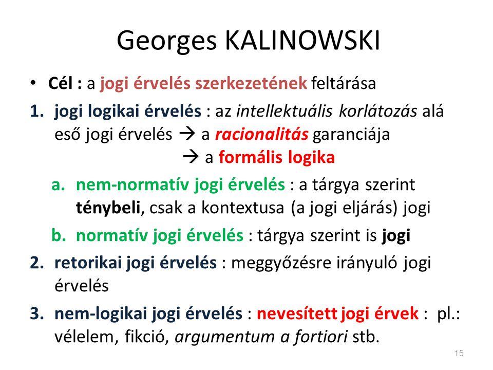 Georges KALINOWSKI Cél : a jogi érvelés szerkezetének feltárása