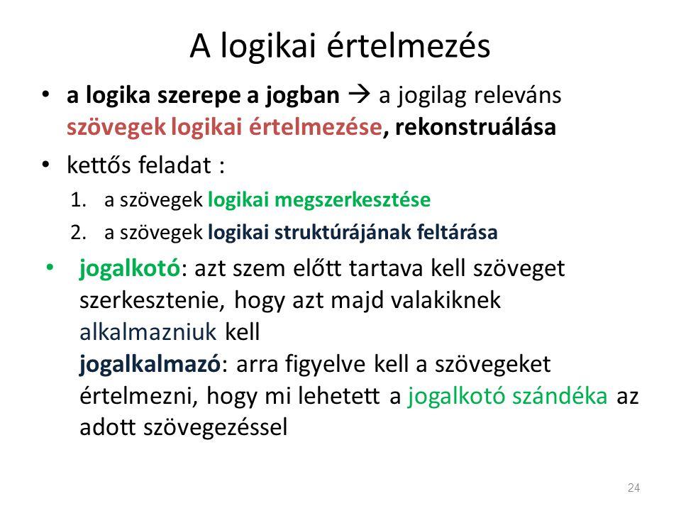 A logikai értelmezés a logika szerepe a jogban  a jogilag releváns szövegek logikai értelmezése, rekonstruálása.