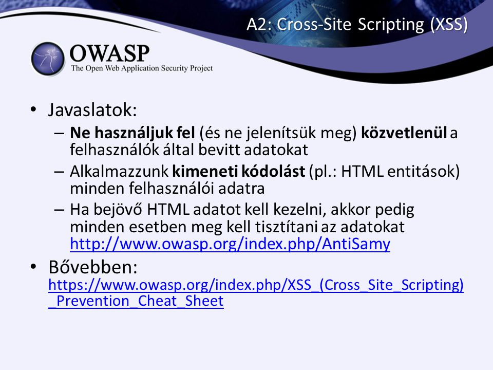 A2: Cross-Site Scripting (XSS)