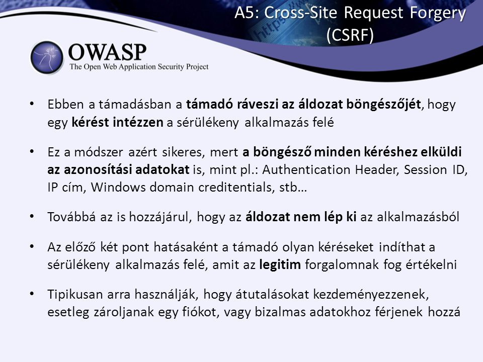 A5: Cross-Site Request Forgery (CSRF)