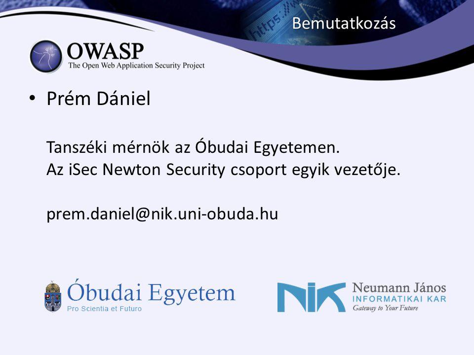 Bemutatkozás Prém Dániel Tanszéki mérnök az Óbudai Egyetemen.