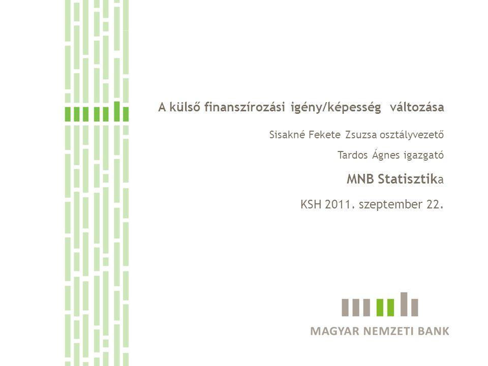 MNB Statisztika A külső finanszírozási igény/képesség változása