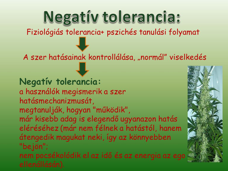 Negatív tolerancia: Negatív tolerancia: