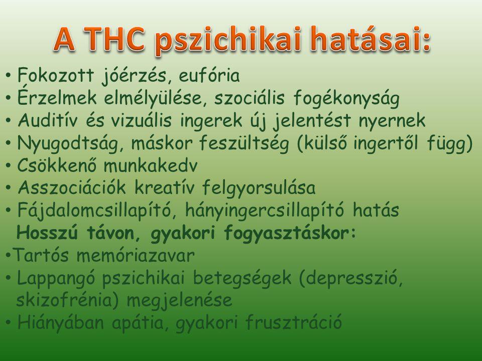 A THC pszichikai hatásai: