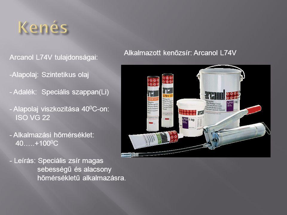 Kenés Alkalmazott kenőzsír: Arcanol L74V Arcanol L74V tulajdonságai: