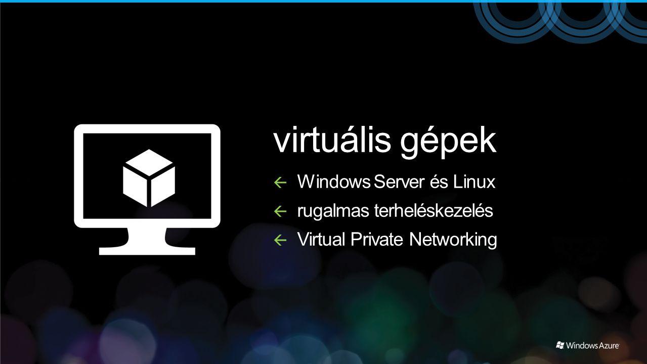 virtuális gépek Windows Server és Linux rugalmas terheléskezelés