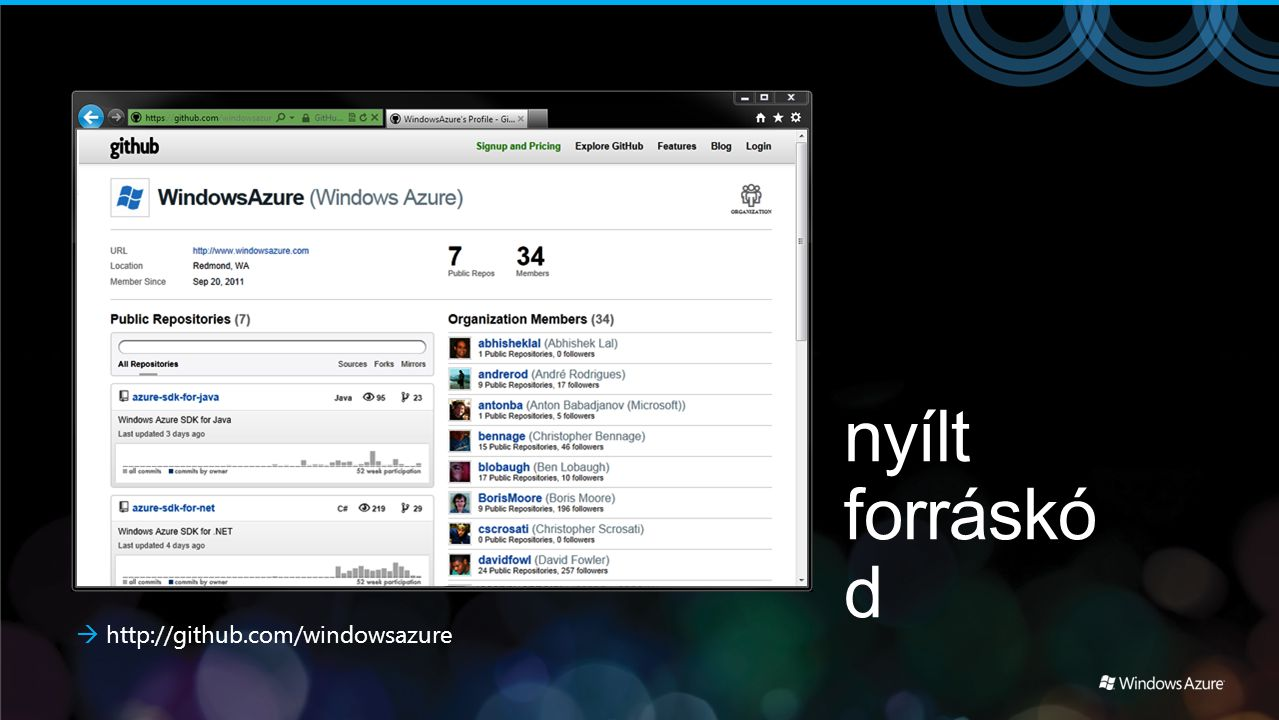 nyílt forráskód  http://github.com/windowsazure