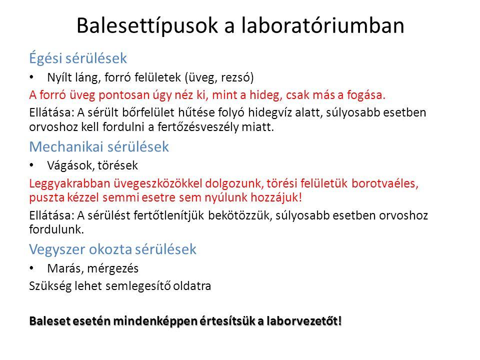 Balesettípusok a laboratóriumban