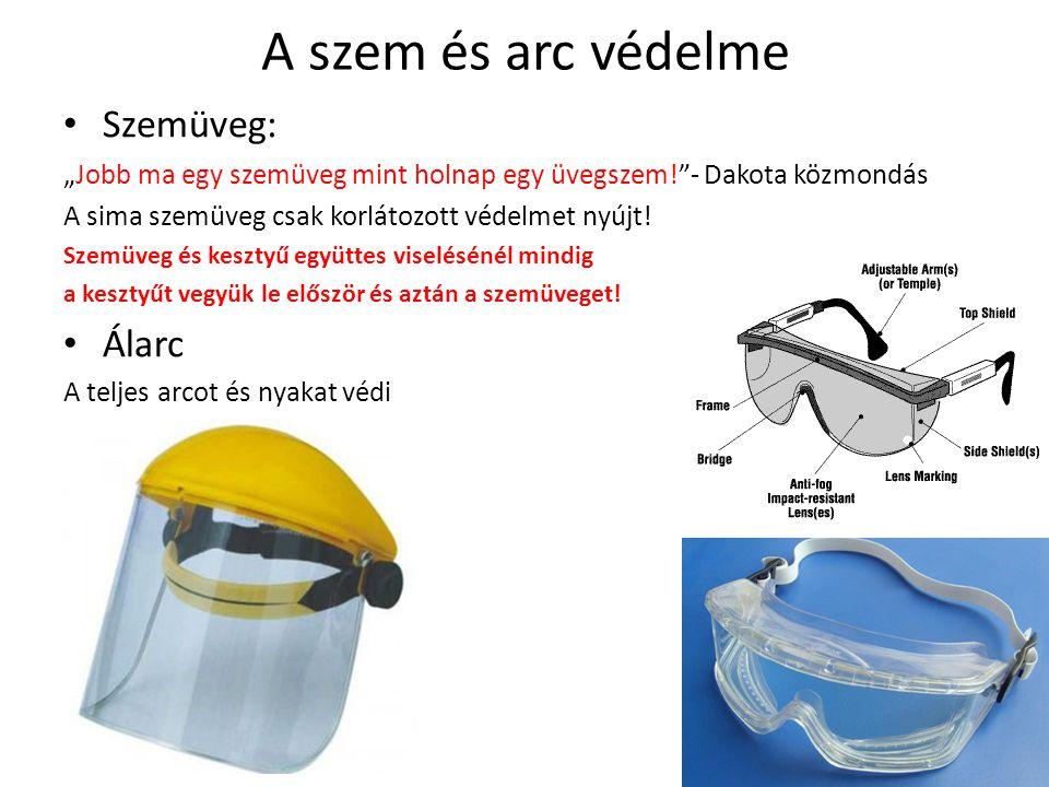 A szem és arc védelme Szemüveg: Álarc
