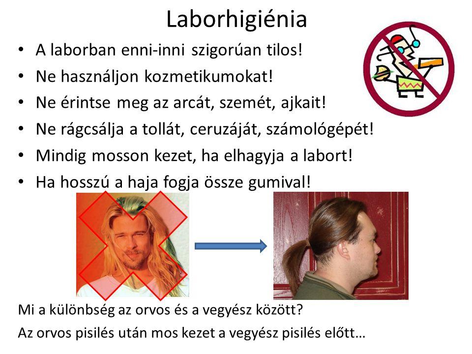 Laborhigiénia A laborban enni-inni szigorúan tilos!