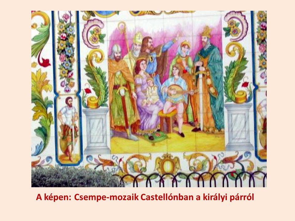 A képen: Csempe-mozaik Castellónban a királyi párról