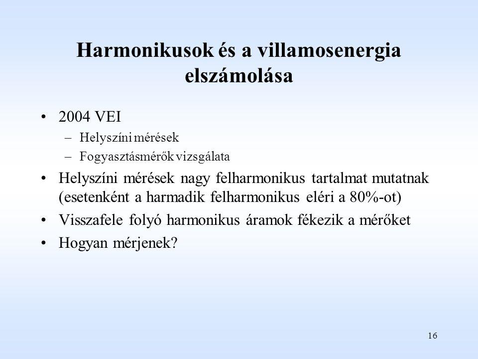 Harmonikusok és a villamosenergia elszámolása