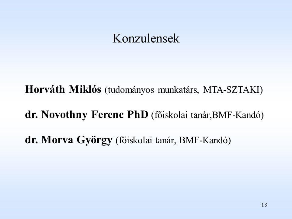 Konzulensek Horváth Miklós (tudományos munkatárs, MTA-SZTAKI)