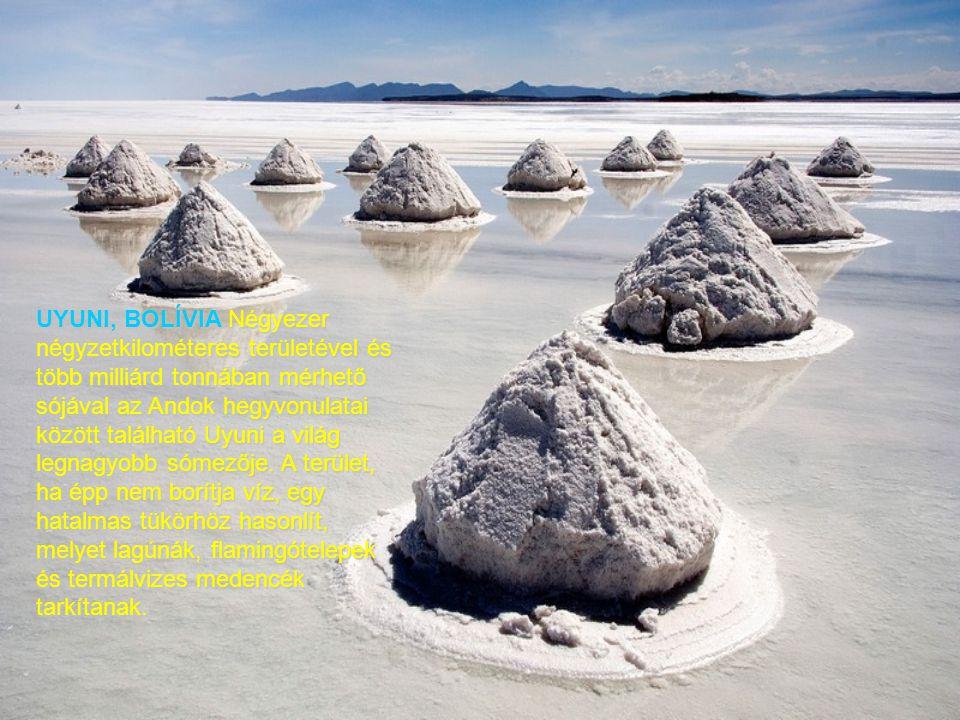 UYUNI, BOLÍVIA Négyezer négyzetkilométeres területével és több milliárd tonnában mérhető sójával az Andok hegyvonulatai között található Uyuni a világ legnagyobb sómezője.