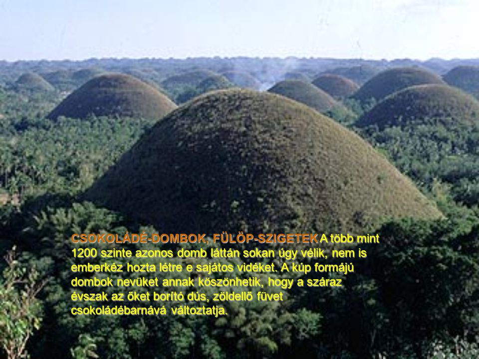 CSOKOLÁDÉ-DOMBOK, FÜLÖP-SZIGETEK A több mint 1200 szinte azonos domb láttán sokan úgy vélik, nem is emberkéz hozta létre e sajátos vidéket.