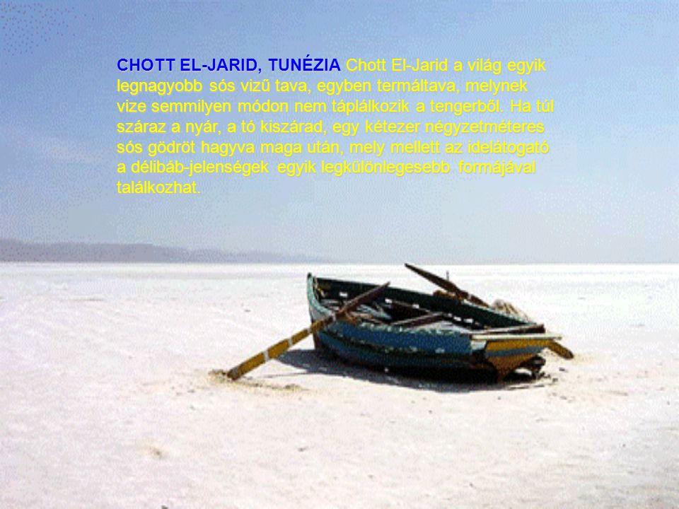 CHOTT EL-JARID, TUNÉZIA Chott El-Jarid a világ egyik legnagyobb sós vizű tava, egyben termáltava, melynek vize semmilyen módon nem táplálkozik a tengerből.