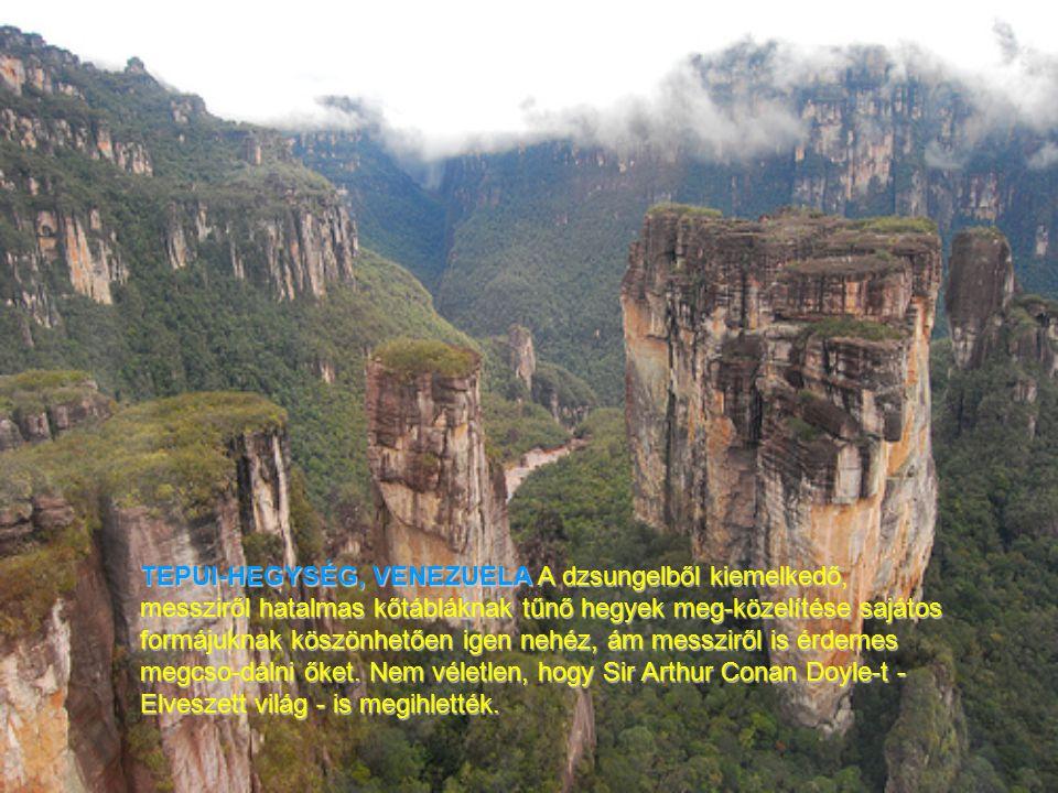 TEPUI-HEGYSÉG, VENEZUELA A dzsungelből kiemelkedő, messziről hatalmas kőtábláknak tűnő hegyek meg-közelítése sajátos formájuknak köszönhetően igen nehéz, ám messziről is érdemes megcso-dálni őket.