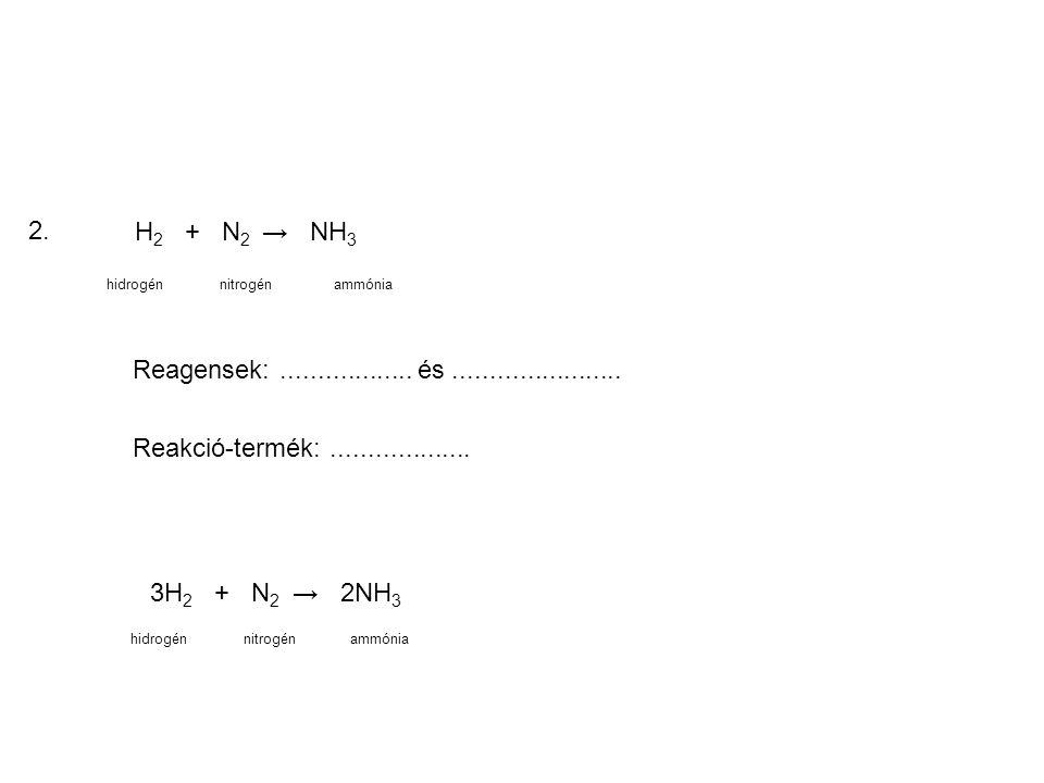 2. H2 + N2 → NH3. hidrogén. nitrogén. ammónia. Reagensek: .................. és .......................