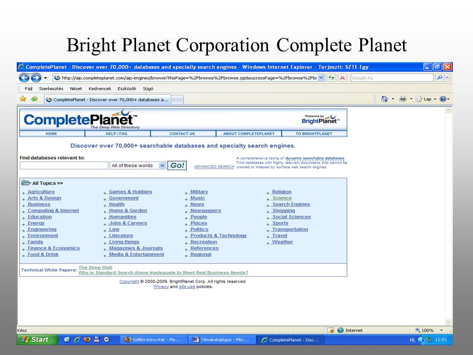 Bright Planet Corporation Complete Planet