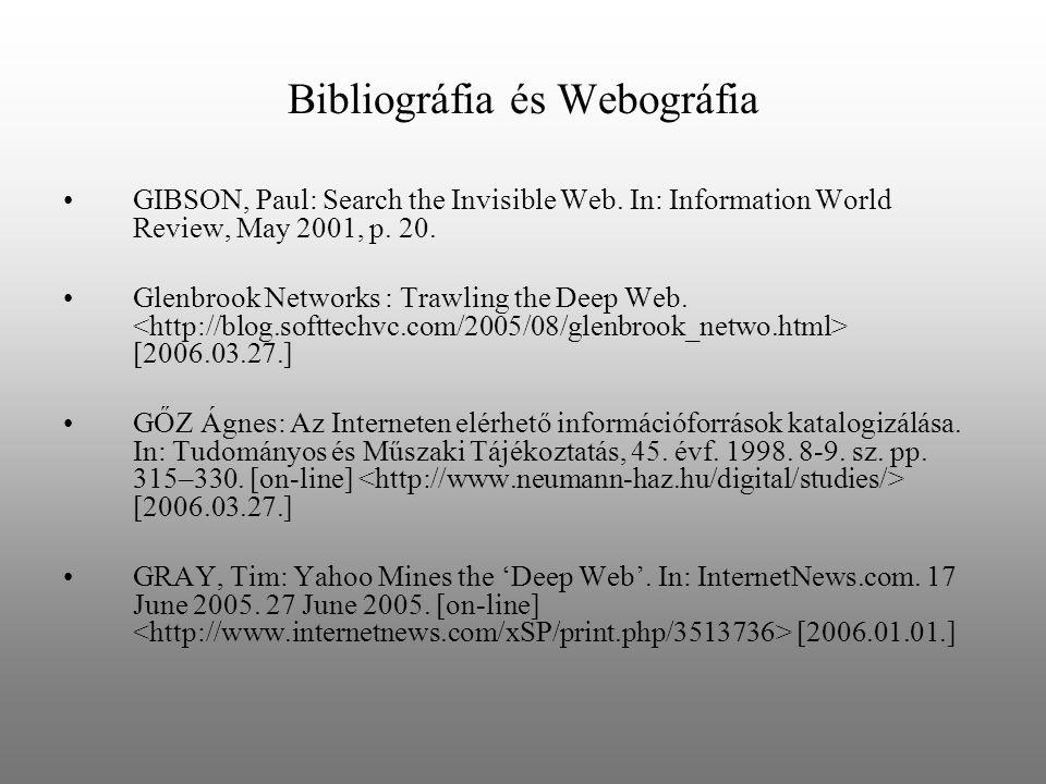 Bibliográfia és Webográfia