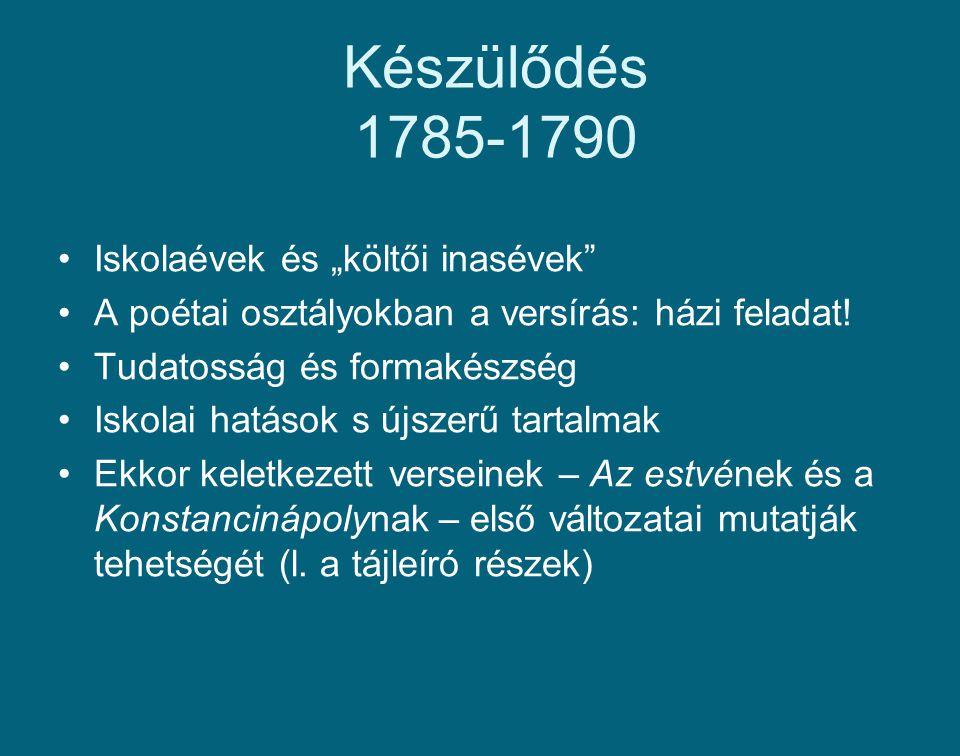 """Készülődés 1785-1790 Iskolaévek és """"költői inasévek"""