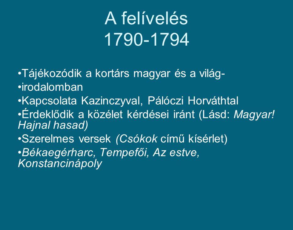 A felívelés 1790-1794 Tájékozódik a kortárs magyar és a világ-