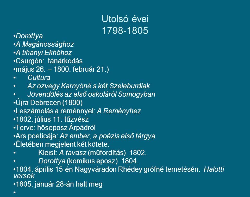 Utolsó évei 1798-1805 Dorottya A Magánossághoz A tihanyi Ekhóhoz
